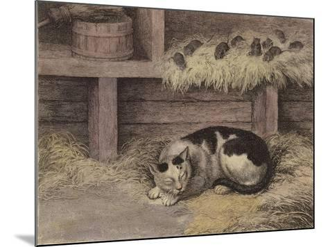 Cat and Mice in a Barn--Mounted Giclee Print
