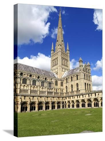 Norwich Cathedral Spire , Nave, Transept and Cloisters--Stretched Canvas Print