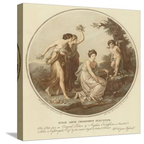 Two Nymphs Mock Cupid Who Is Tied to a Tree-Angelica Kauffmann-Stretched Canvas Print