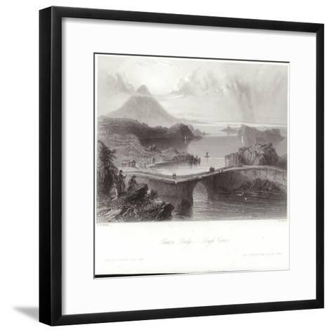 Pontoon Bridge on Lough Conn-William Henry Bartlett-Framed Art Print