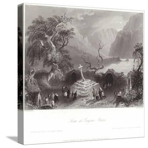 Scene at Gougane Barra in County Cork-William Henry Bartlett-Stretched Canvas Print