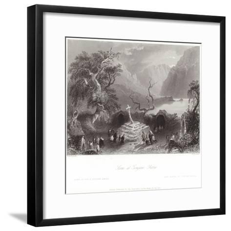 Scene at Gougane Barra in County Cork-William Henry Bartlett-Framed Art Print