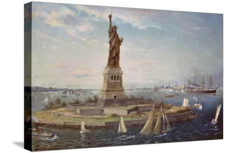Liberty Island, New York Harbor, 1883-Fred Pansing-Stretched Canvas Print