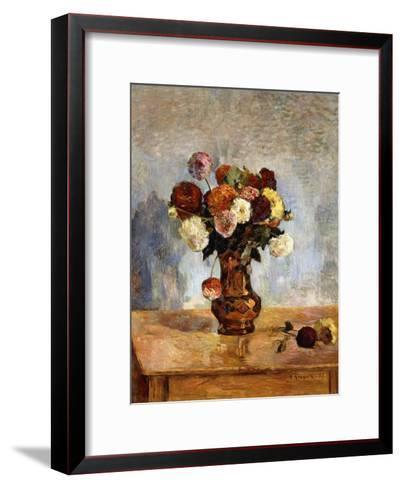 Les Dahlias, 1885-Paul Gauguin-Framed Art Print