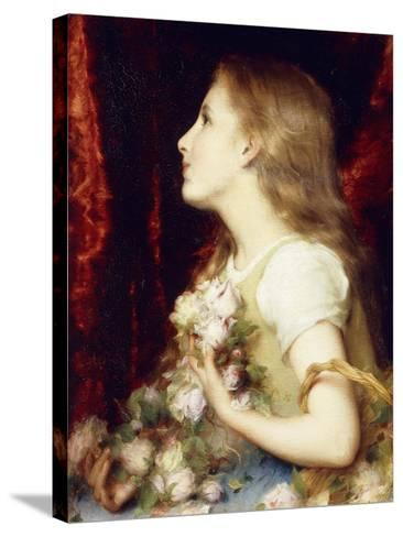 A Young Girl with a Basket of Flowers-Etienne Adolphe Piot-Stretched Canvas Print