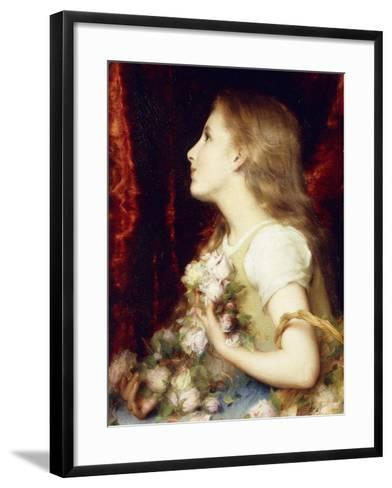 A Young Girl with a Basket of Flowers-Etienne Adolphe Piot-Framed Art Print