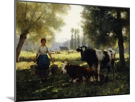 A Milkmaid with Her Cows on a Summer Day-Julien Dupre-Mounted Giclee Print