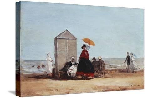 On the Beach at Trouville; Sur La Plage De Trouville, 1865-Eug?ne Boudin-Stretched Canvas Print