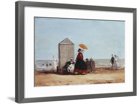 On the Beach at Trouville; Sur La Plage De Trouville, 1865-Eug?ne Boudin-Framed Art Print