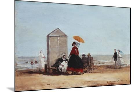 On the Beach at Trouville; Sur La Plage De Trouville, 1865-Eug?ne Boudin-Mounted Giclee Print