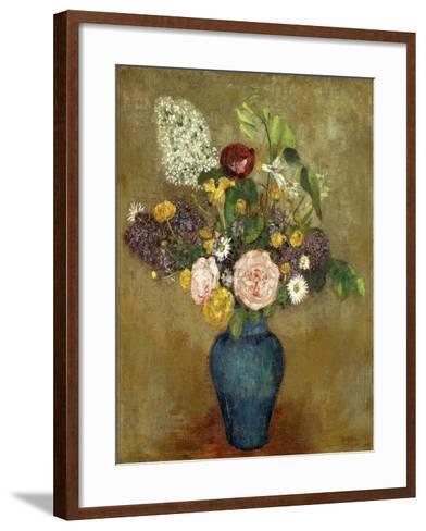 Vase of Flowers; Vase De Fleurs-Odilon Redon-Framed Art Print