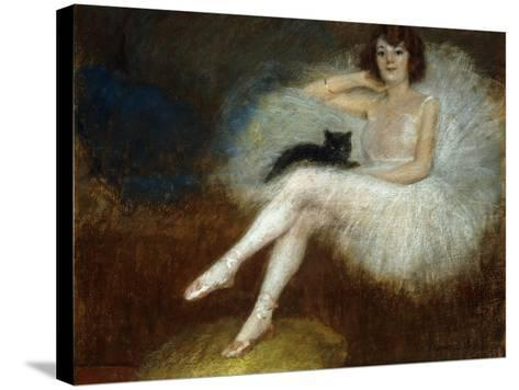 Ballerina with a Black Cat-Pierre Carrier-belleuse-Stretched Canvas Print