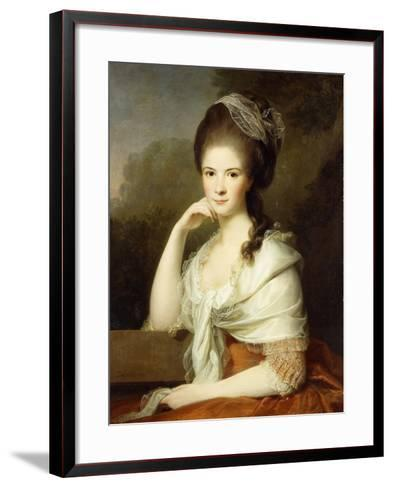 Portrait of a Lady, Seated Half-Length, Wearing a Brown Dress and a White Shawl, 1778-Jens Juel-Framed Art Print