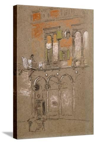 A Venetian Courtyard-James Abbott McNeill Whistler-Stretched Canvas Print