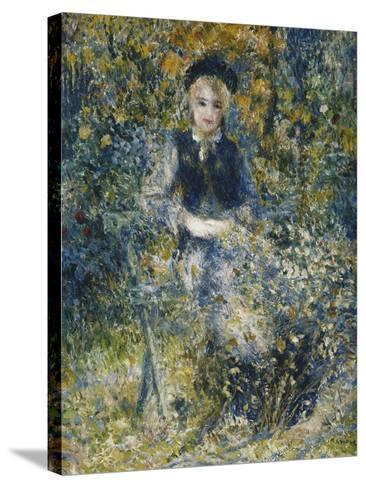 Young Girl on a Bench; La Jeune Fille Au Banc, 1875-Pierre-Auguste Renoir-Stretched Canvas Print