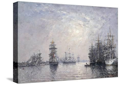 Le Havre, Eure Basin, Sailing Boats at Anchor, Sunset; Le Havre, Bassin De L'Eure, Voiliers a?-Eug?ne Boudin-Stretched Canvas Print