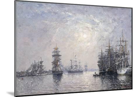 Le Havre, Eure Basin, Sailing Boats at Anchor, Sunset; Le Havre, Bassin De L'Eure, Voiliers a?-Eug?ne Boudin-Mounted Giclee Print