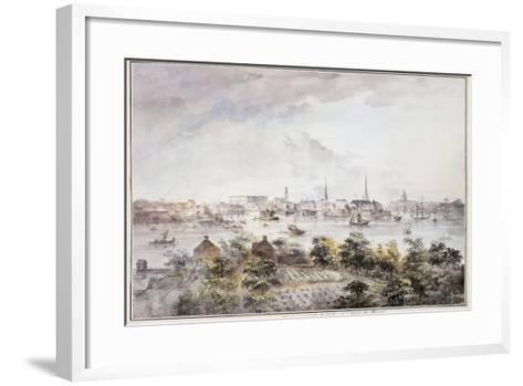 A View of Stockholm from Kungsholmen with the Royal Palace and Storkyrkan, Tyskakyrkan,…-Elias Martin-Framed Art Print