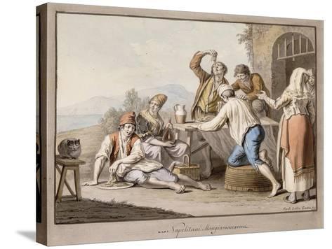 Neopolitans Eating Macaroni; Napolitani Mangia Maccaroni-Saviero Xavier Della Gatta-Stretched Canvas Print