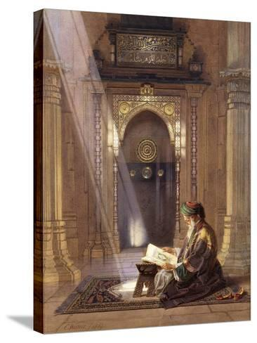 In the Mosque, (Watercolour Heightened with White and Touches of Gum Arabic 63)-Carl Friedrich Heinrich Werner-Stretched Canvas Print