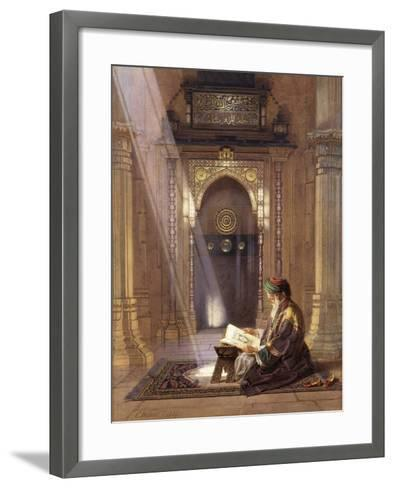 In the Mosque, (Watercolour Heightened with White and Touches of Gum Arabic 63)-Carl Friedrich Heinrich Werner-Framed Art Print