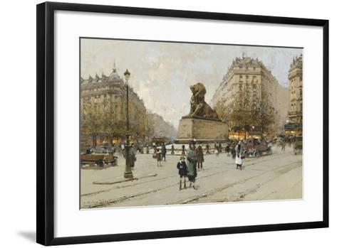 The Lion of Belfort; Le Lion De Belfort-Eugene Galien-Laloue-Framed Art Print