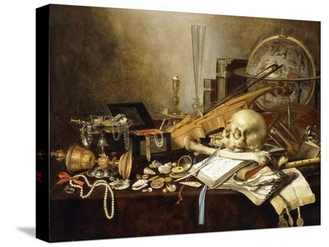 A Vanitas Still Life of Musical Instruments and Manuscripts, an Overturned Gilt Covered Goblet, a…-Pieter Claesz-Stretched Canvas Print