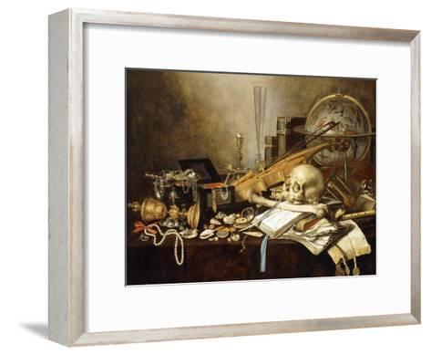 A Vanitas Still Life of Musical Instruments and Manuscripts, an Overturned Gilt Covered Goblet, a…-Pieter Claesz-Framed Art Print