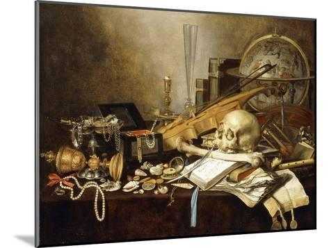 A Vanitas Still Life of Musical Instruments and Manuscripts, an Overturned Gilt Covered Goblet, a…-Pieter Claesz-Mounted Giclee Print