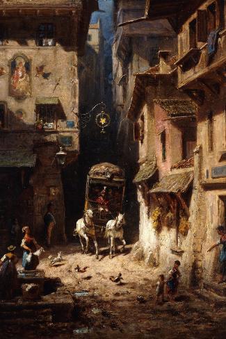 The Post; Die Post, C.1875-1880-Carl Spitzweg-Stretched Canvas Print