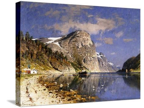A Steamer in the Sognefjord-Adelsteen Normann-Stretched Canvas Print