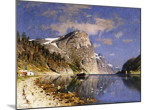 A Steamer in the Sognefjord-Adelsteen Normann-Mounted Giclee Print