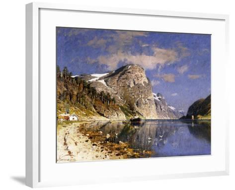 A Steamer in the Sognefjord-Adelsteen Normann-Framed Art Print