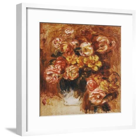 Vase of Roses; Vase De Roses-Pierre-Auguste Renoir-Framed Art Print