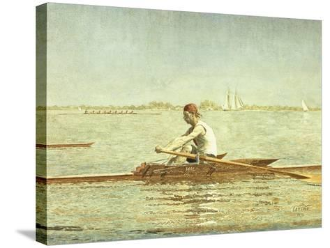 John Biglin in a Single Scull, 1873-Thomas Cowperthwait Eakins-Stretched Canvas Print
