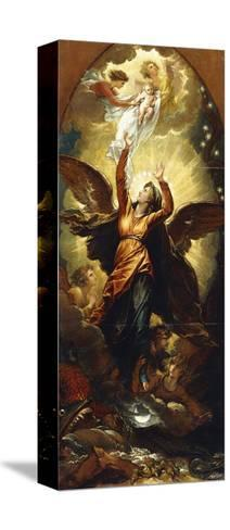 The Woman Clothed with the Sun Fleeth from the Persecution of the Dragon'-Benjamin West-Stretched Canvas Print