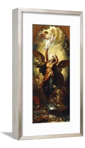 The Woman Clothed with the Sun Fleeth from the Persecution of the Dragon'-Benjamin West-Framed Art Print