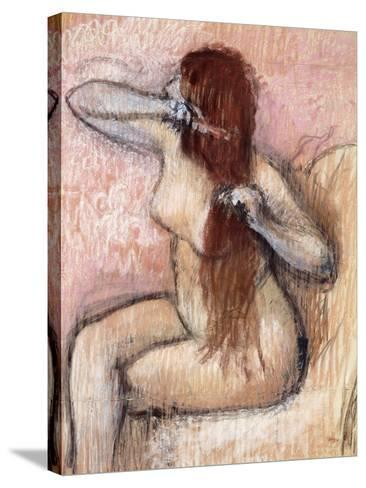 Nude Seated Woman Arranging Her Hair; Femme Nu Assise, Se Coiffant, C.1887-1890-Edgar Degas-Stretched Canvas Print
