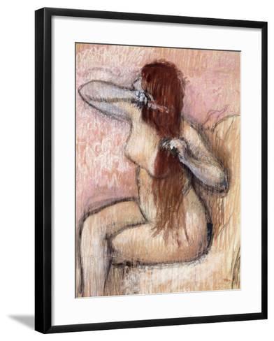 Nude Seated Woman Arranging Her Hair; Femme Nu Assise, Se Coiffant, C.1887-1890-Edgar Degas-Framed Art Print