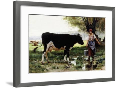 A Milkmaid with Her Cow-Julien Dupre-Framed Art Print