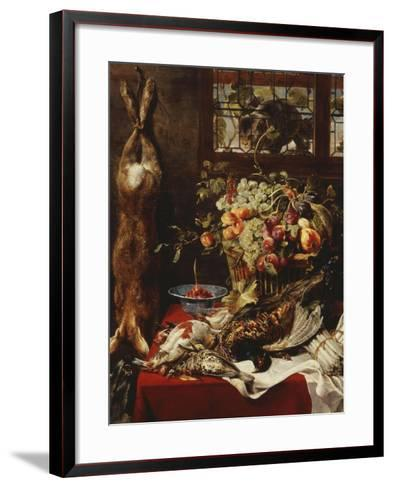A Larder Still Life with Fruit, Game and a Cat by a Window-Frans Snyders Or Snijders-Framed Art Print