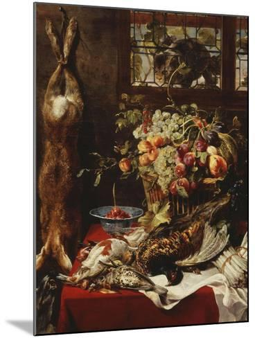 A Larder Still Life with Fruit, Game and a Cat by a Window-Frans Snyders Or Snijders-Mounted Giclee Print