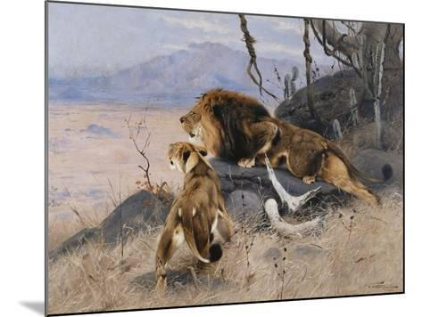 Lion and Lioness; Lowe Und Lowin-Wilhelm Kuhnert-Mounted Giclee Print