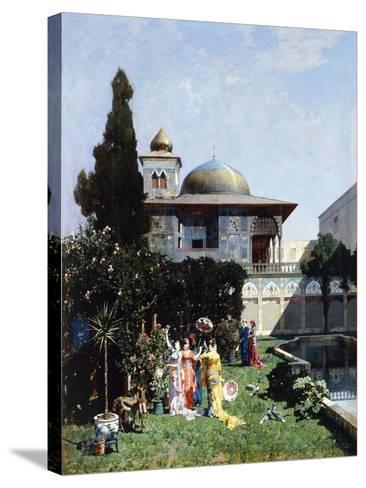 A Corner in the Garden of the Harem; Un Angolo De Giardino Dell'Harem, 1877-Alberto Pasini-Stretched Canvas Print