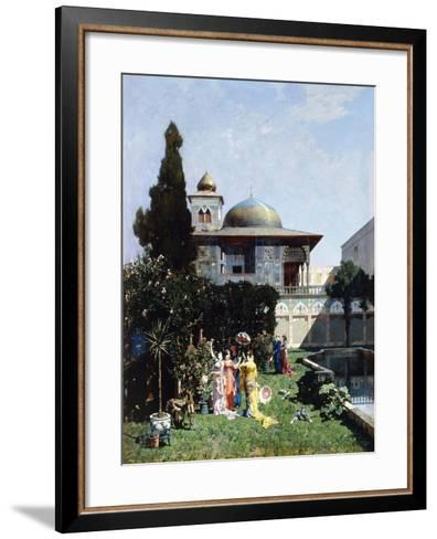 A Corner in the Garden of the Harem; Un Angolo De Giardino Dell'Harem, 1877-Alberto Pasini-Framed Art Print