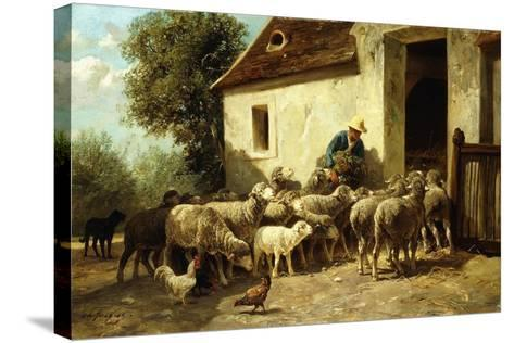 Returning Home-Charles Emile Jacque-Stretched Canvas Print