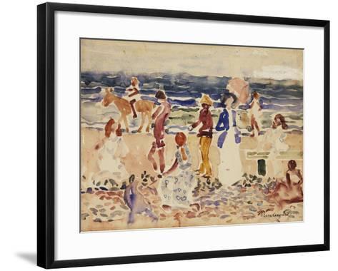 On the Beach, C.1920-23-Maurice Brazil Prendergast-Framed Art Print