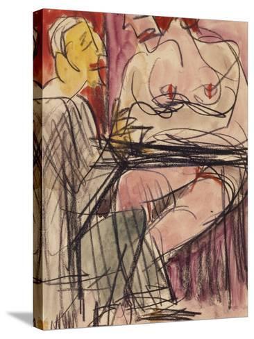 Female Nude and Man Sitting at a Table; Weiblicher Akt Und Mann an Einem Tisch Sitzend-Ernst Ludwig Kirchner-Stretched Canvas Print