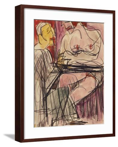 Female Nude and Man Sitting at a Table; Weiblicher Akt Und Mann an Einem Tisch Sitzend-Ernst Ludwig Kirchner-Framed Art Print