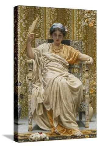 A Revery- a Look of Sadness on a Restful Face - She Hath No Cares - a Thing Hereditary in the…-Albert Joseph Moore-Stretched Canvas Print